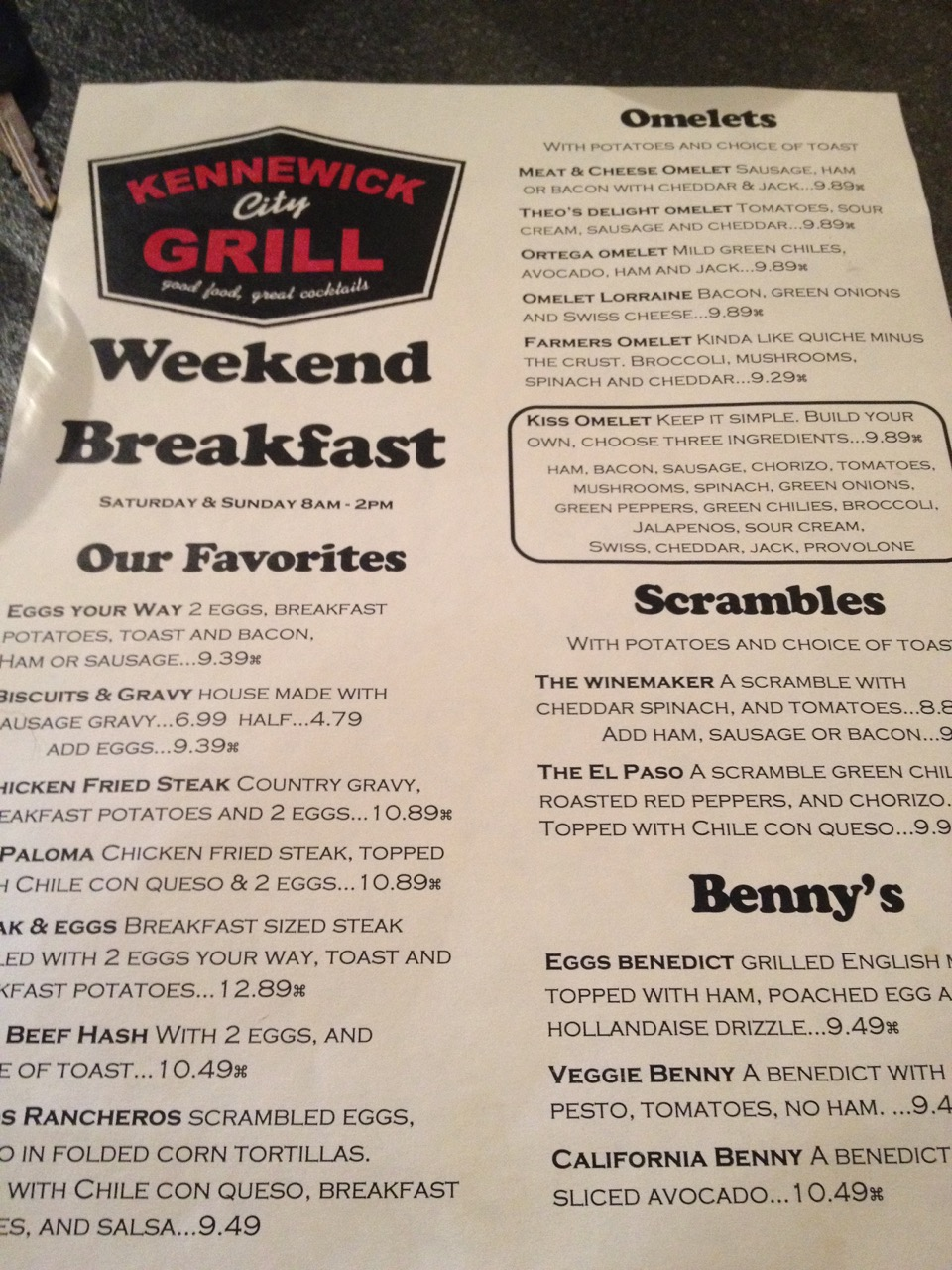 The Death of Another Great Local Restaurant – Kennewick City Grill – August 15 2012