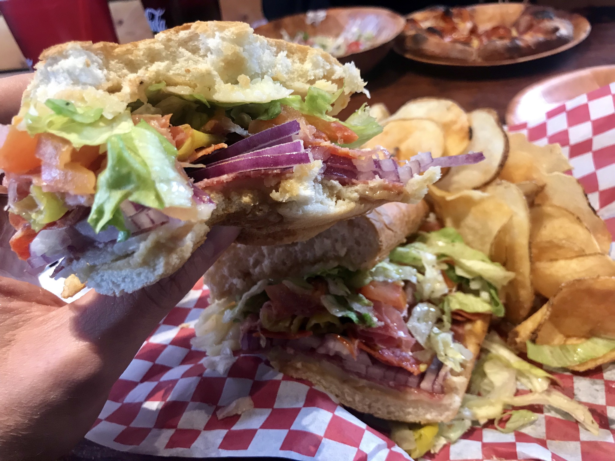 Italian Sandwich and Pepperoni Pizza at 4th Base Pizza in Kennewick - December 7 2018