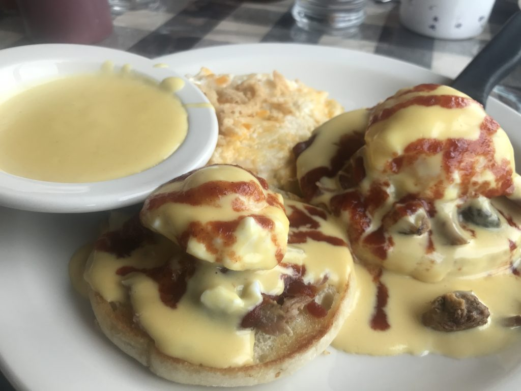 Pulled Pork Eggs Benedict at Hills Restaurant and Lounge in Kennewick – March 28 2021