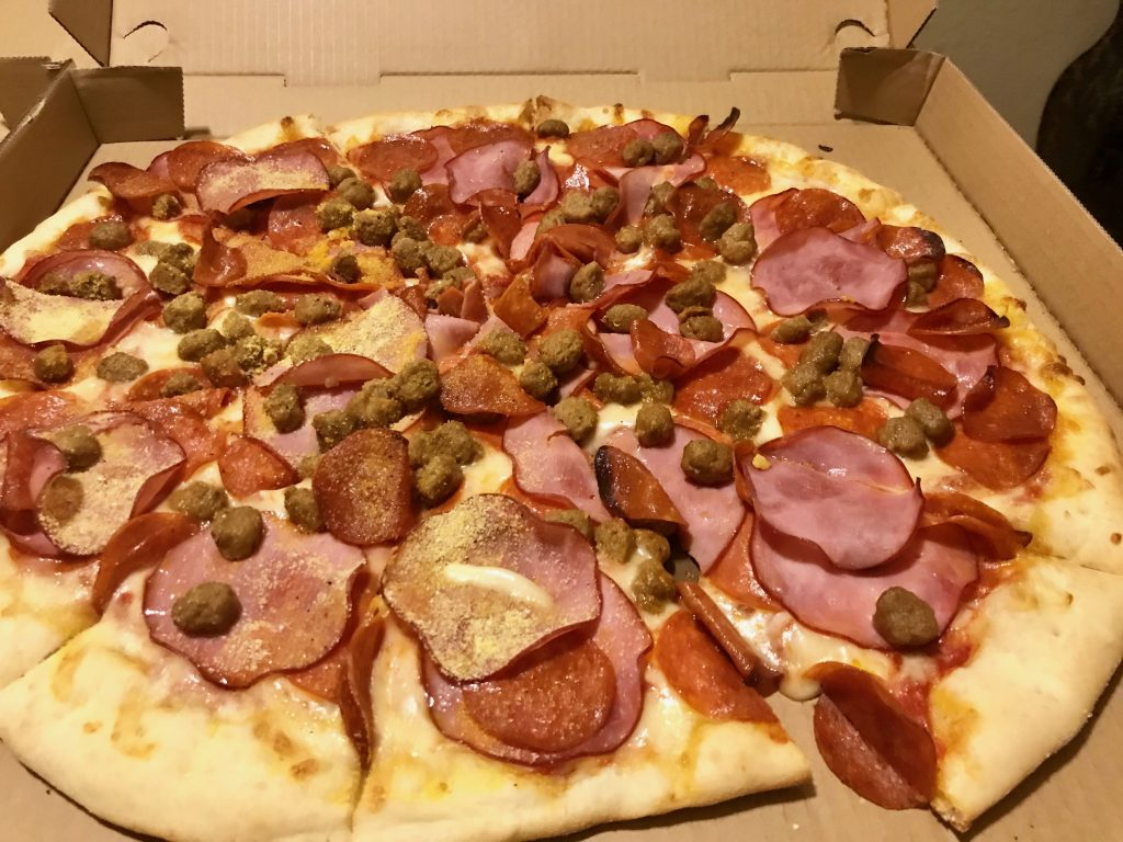 Three Meat Pizza at Eatz Pizzeria in Richland – February 14 2018