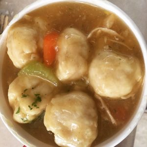 A Tanker of Chicken Dumpling Soup from Island View Market – March 11 2019